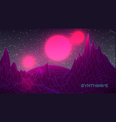 Synthwave banner template 80s background retro vector