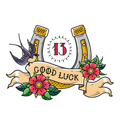Tattoo good luckgold horseshoeswallownumber 13 vector