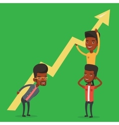 Three businessmen holding growth graph vector