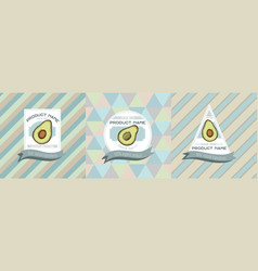 three colored labels with avocado vector image