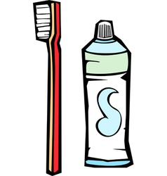 Tooth Brush and Paste vector