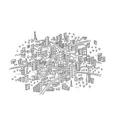 Town sketch in the circle hand drawn black line vector