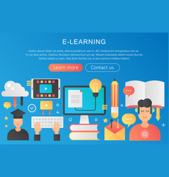 trendy flat gradient color elearning online vector image