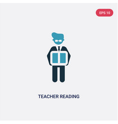two color teacher reading icon from people vector image
