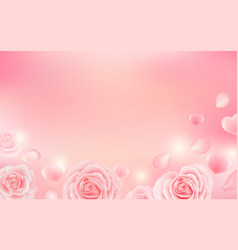 valentines day background with hearts and roses vector image