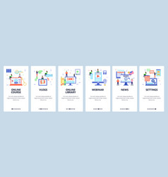 vlogger website and mobile app onboarding screens vector image