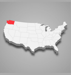 Washington state location within united states 3d vector