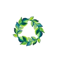 Watercolor wreath of branch with green leaves vector