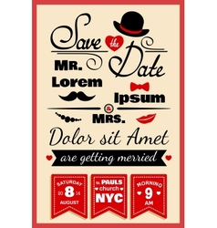 Wedding invitation card in hipster style vector