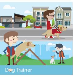 Dog trainer training vector