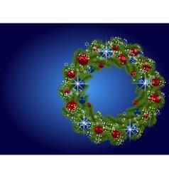 Holiday card Christmas wreath Green fir branches vector image vector image