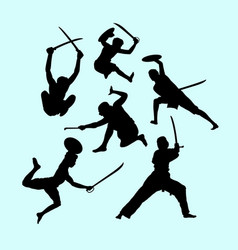 martial art male and defense action silhouette vector image