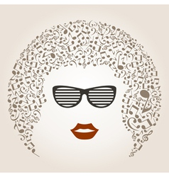 Musical female head vector image vector image