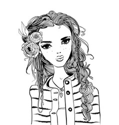 portrait of a young woman with long hair vector image
