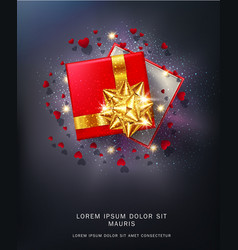 red gift box with a gold bow vector image