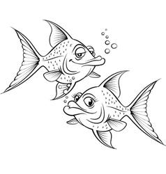 Two drawing cartoon fish vector image