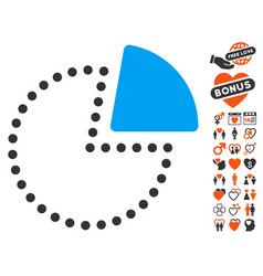 pie chart icon with love bonus vector image