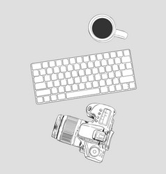 realistic workplace organization top view with vector image