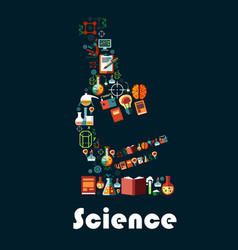 science poster with microscope symbol vector image vector image