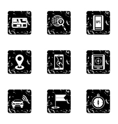 Search territory icons set grunge style vector image vector image