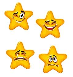 Set of glossy cartoon stars vector image