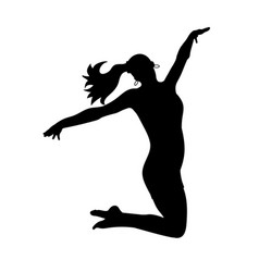 silhouettes dancing jumping girl vector image vector image