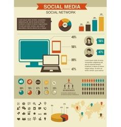 Social network infographics set retro style design vector image vector image