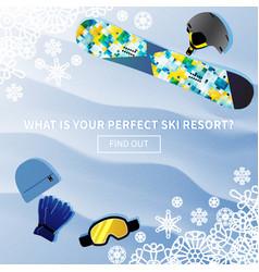 Winter holidays ski resort banner vector