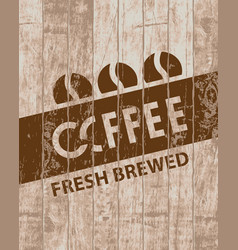 banner with coffee grains on wooden background vector image