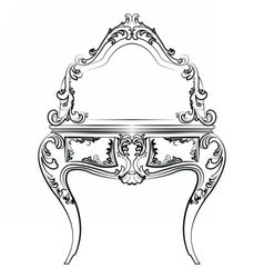Dressing table with mirror in baroque style vector image