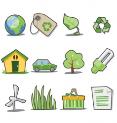 green icons fresh collection vector image