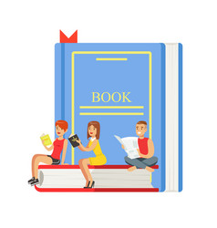 micro young women and man sitting on a giant book vector image vector image