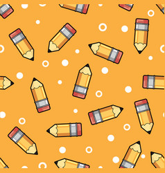 pattern yellow pencil wooden and pink eraser on a vector image vector image