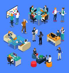 People coworking isometric set vector