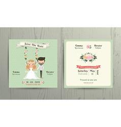 Rustic wedding cartoon bride and groom couple vector