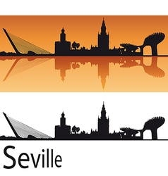 Seville Skyline in orange background vector image vector image