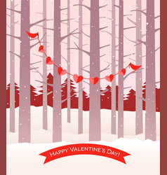 valentine cardinals holding string of hearts vector image vector image