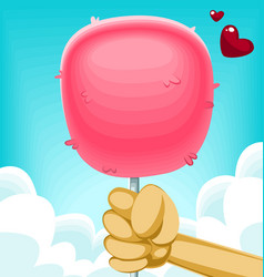 fluffy cartoon cotton candy hold hand holiday love vector image