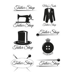 Set of black badges for tailor shops vector image