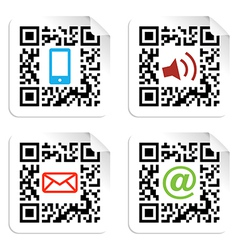 Social media icons set with QR code sign label vector image