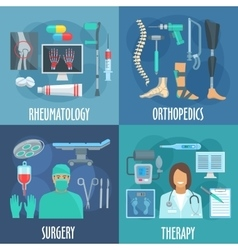 Surgery therapy orthopedic rheumatology icons vector image