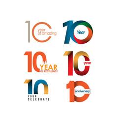 10 year anniversary set template design vector