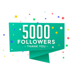 5000 social media followers thank you background vector