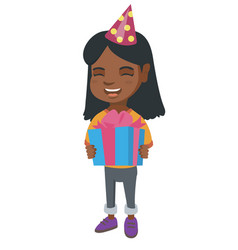 African girl in birthday cap holding gift box vector