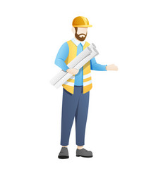 architect or engineer carry blue print sheets vector image