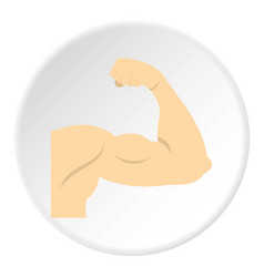 arm showing biceps muscle icon circle vector image