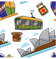 Australian symbols seamless pattern traveling and vector