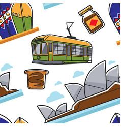 Australian symbols seamless pattern traveling vector