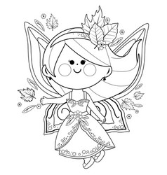 Autumn fairy black and white coloring page vector