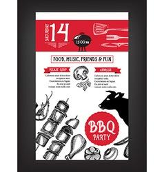 Barbecue party invitation BBQ template menu design vector image